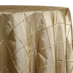 "4"" Pintuck Taffeta Table Linen in Champagne 060"