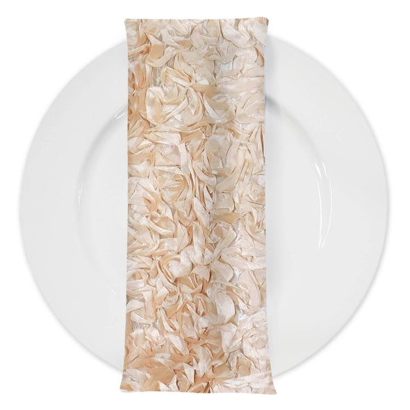 Curly Satin (w/ Poly Lining) Table Napkin in Champagne