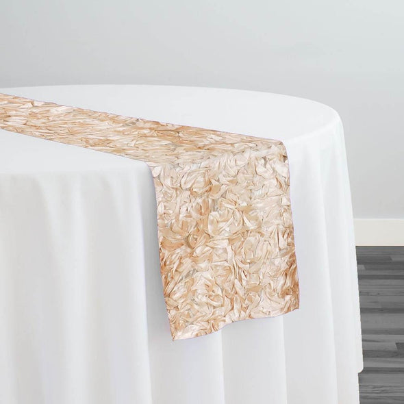 Curly Satin Table Runner in Champagne
