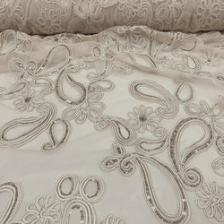 Paisley Floret Sequins Table Linen in Champagne