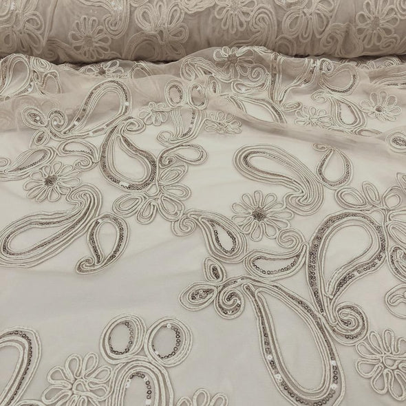 Paisley Floret Sequins Wholesale Fabric in Champagne