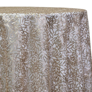 Fiori Leaf Sequins Table Linen in Champagne