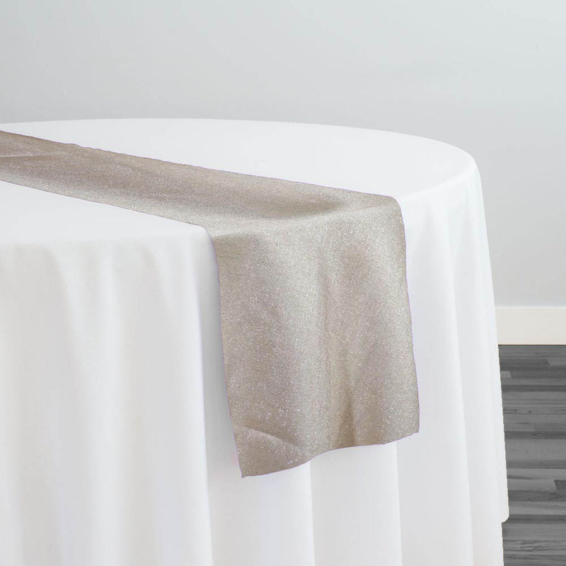 Metallic Burlap (100% Polyester) Table Runner in Champagne
