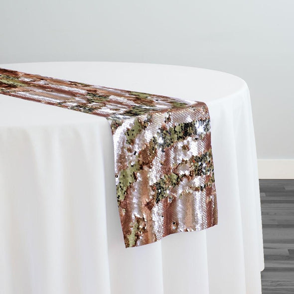Two-Tone Sequins Table Runner in Blush and Champagne