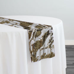 Two-Tone Sequins Table Runner in Champagne and Matte