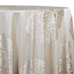 Medallion Jacquard Sheer Table Linen in Champagne