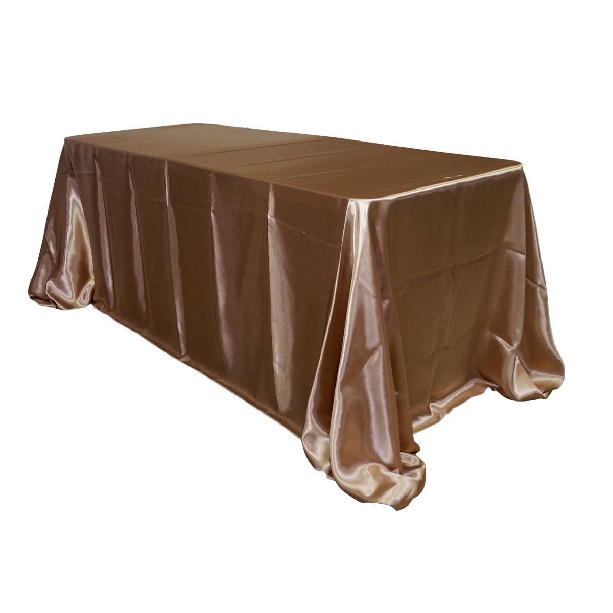 "Economy Shiny Satin 90""x132"" Rectangular Tablecloth - Champagne"