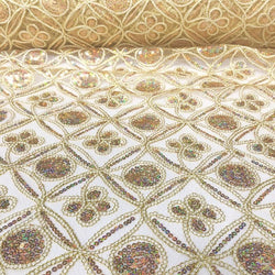 Skylar Sequins Table Linen in Champagne