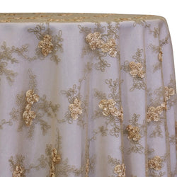 Baby Rose Embroidery Table Linen in Champagne