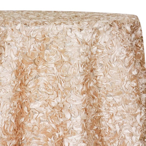 Curly Satin Table Linen In Champagne