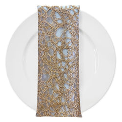 Swirl Chain Lace (w/ Poly Lining) Table Napkin in Champagne