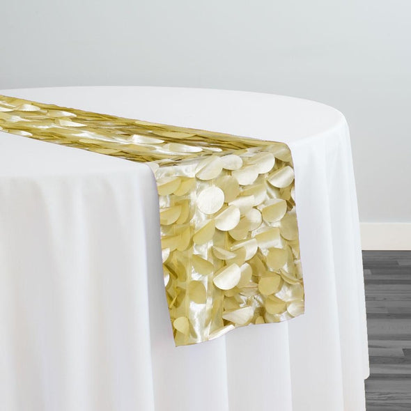 Funzie (Circle Hanging) Taffeta Table Runner in Champagne