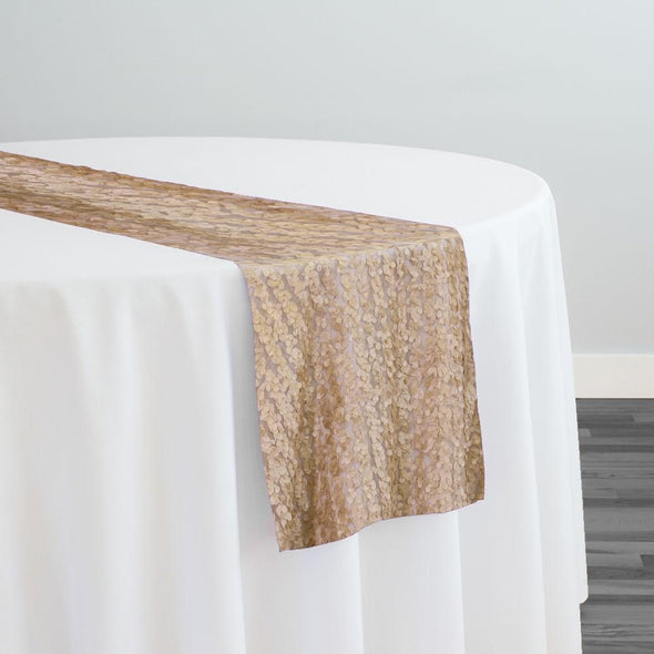Mini Petals On Mesh Table Runner in Champagne