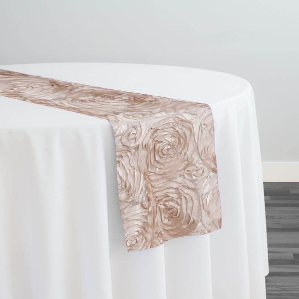 Rose Satin (3D) Table Runner in Champagne 340