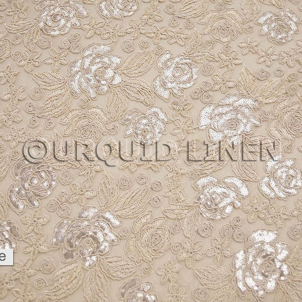 Valentina Lace Wholesale Fabric in Champagne