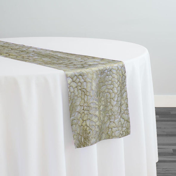 Metallic Rose Table Runner in Champagne