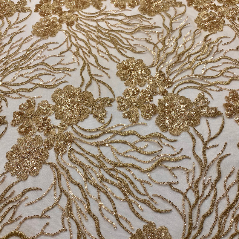 Marigold Sequins Wholesale Fabric in Champagne