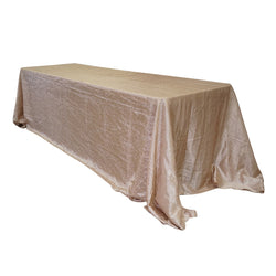 "Economy Crush Taffeta 90""x156"" Rectangular Tablecloth - Champagne"