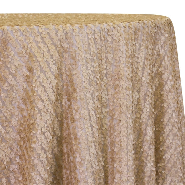 Mini Petals On Mesh Table Linen in Champagne