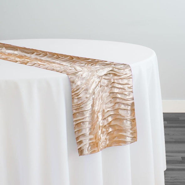 Austrian Wave Satin Table Runner in Champagne