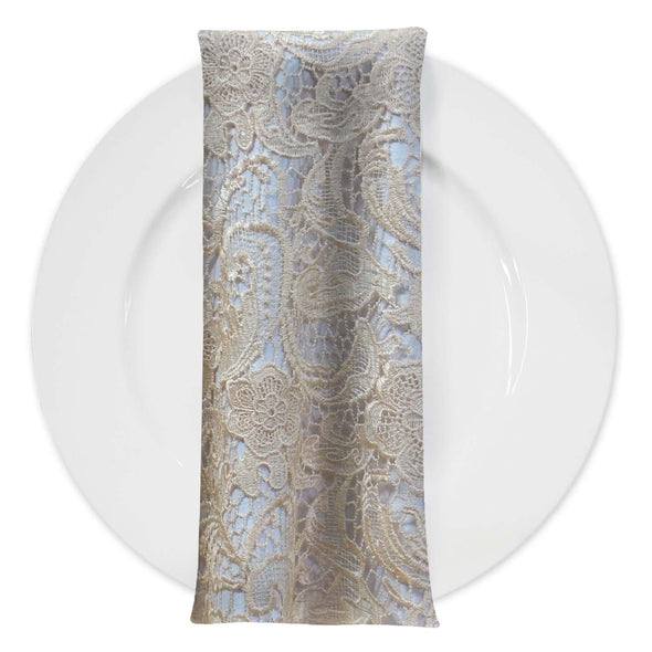 English Lace (w/ Poly Lining) Table Napkin in Champagne