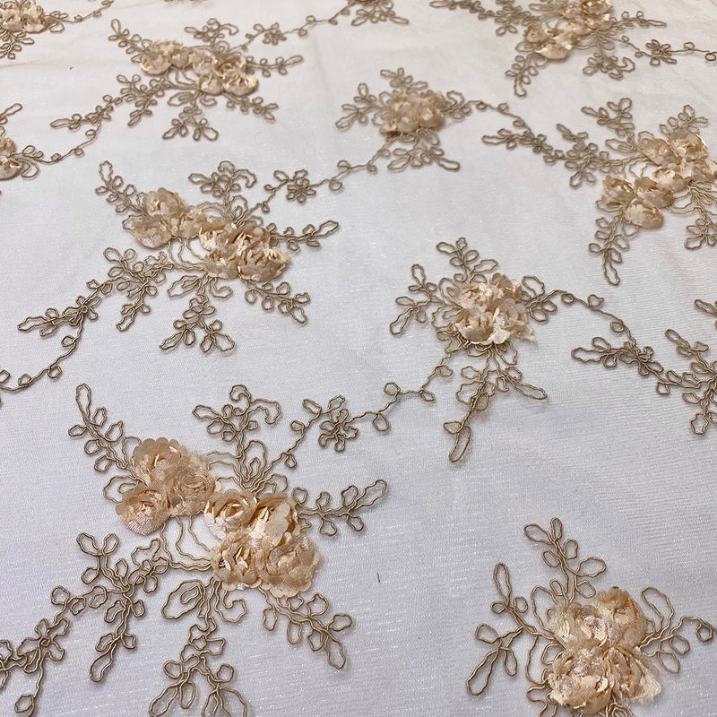 Baby Rose Embroidery (w/ Poly Lining) Table Napkin in Champagne