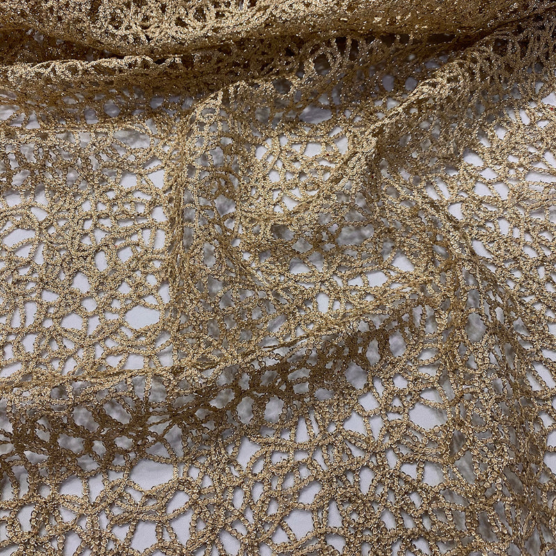 Swirl Chain Lace Wholesale Fabric in Champagne
