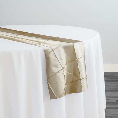 "4"" Pintuck Taffeta Table Runner in Champagne 060"