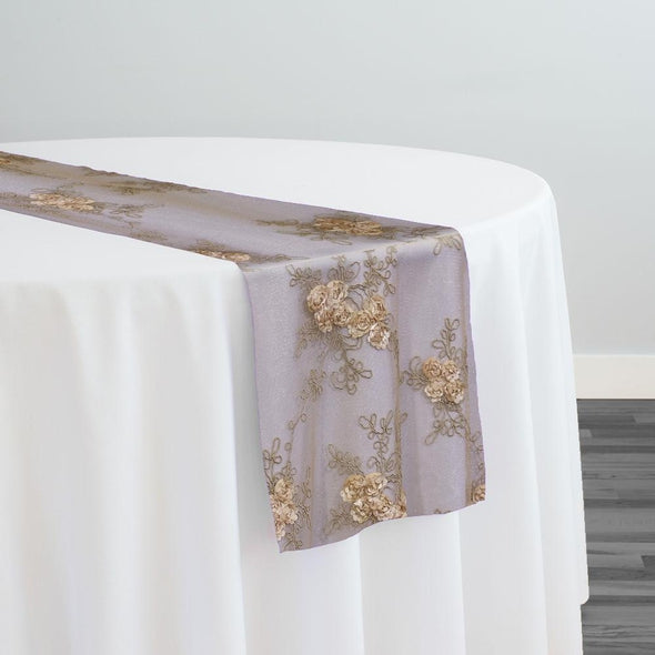 Baby Rose Embroidery Table Runner in Champagne