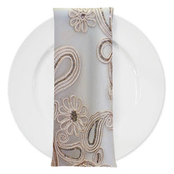 Paisley Floret Sequins (w/ Poly Lining) Table Napkin in Champagne
