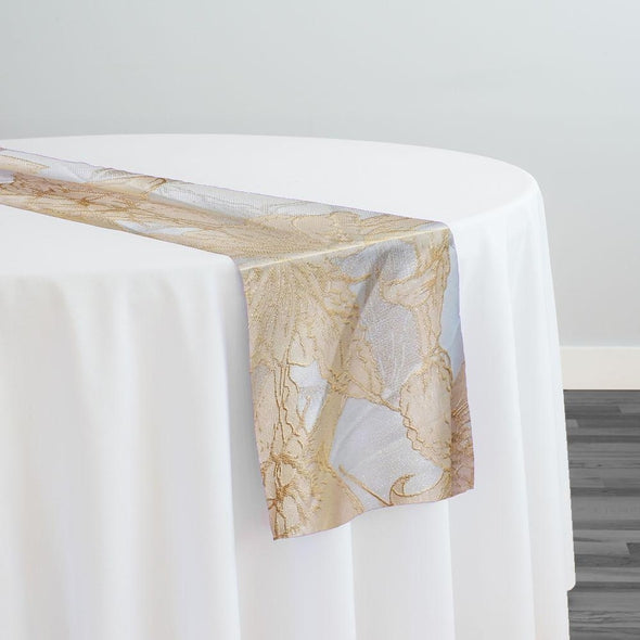 Floral Reef Jacquard Table Runner in Champagne