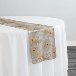 Jasmine Lace Table Runner in Champagne