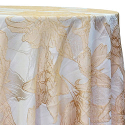 Floral Reef Jacquard Table Linen in Champagne