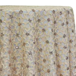 Daisy Sequins Table Linen in Champagne