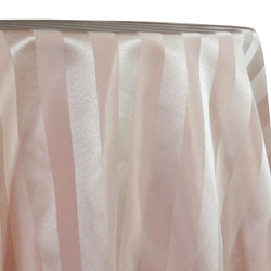 Imperial Stripe Table Linen in Champagne