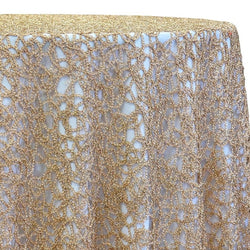 Swirl Chain Lace Table Linen in Champagne