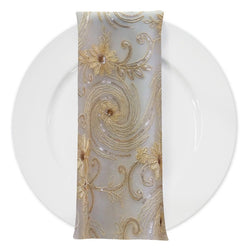 Jasmine Lace (w/ Poly Lining) Table Napkin in Champagne