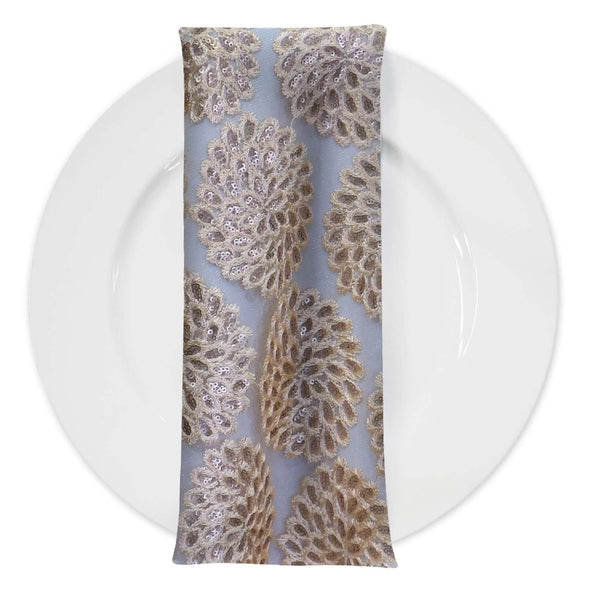Dahlia Sequins (w/ Poly Lining) Table Napkin in Champagne
