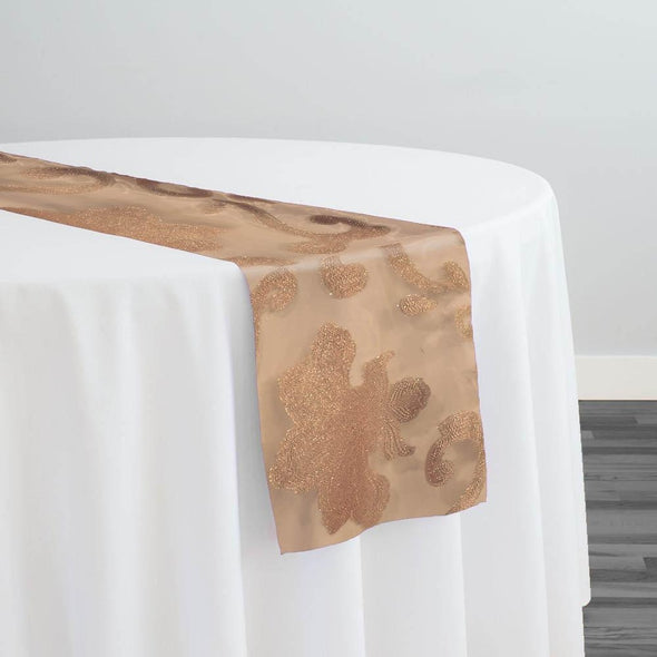 Fleur De Lis Table Runner in Champagne