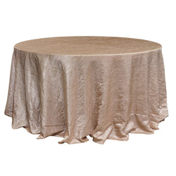 "Economy Crush Taffeta 132"" Round Tablecloth - Champagne"
