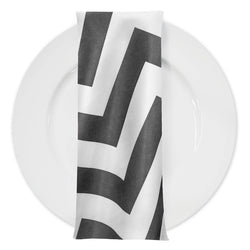 Chevron Print Table Napkin in Charcoal and White