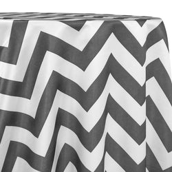Chevron Print (Lamour) Table Linen in Charcoal and White