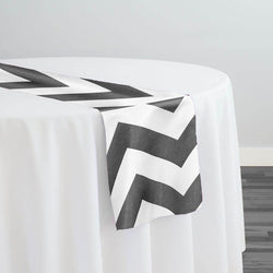 Chevron Print (Lamour) Table Runner in Charcoal and White
