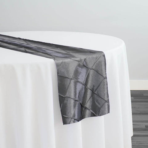 "2"" Pintuck Taffeta Table Runner in Charcoal"