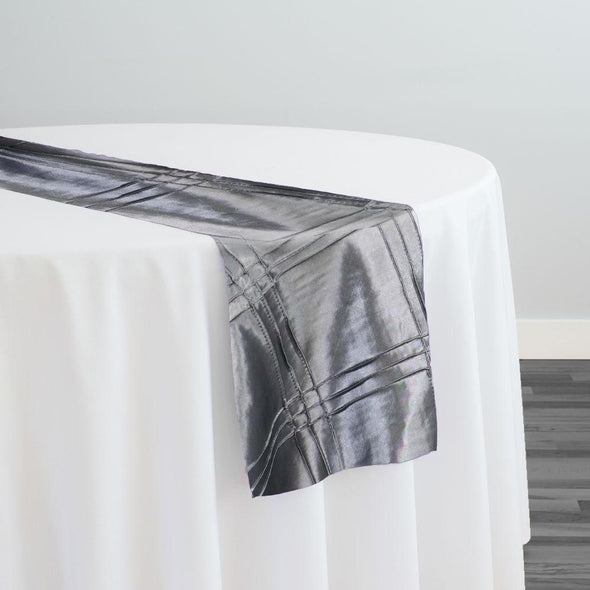 Triple Pleat Pintuck Table Runner in Charcoal
