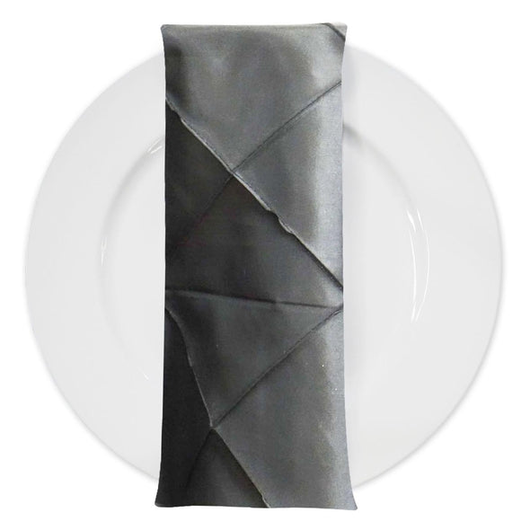 "4"" Pintuck Taffeta Table Napkin in Charcoal"