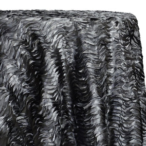 Austrian Wave Satin Table Linen in Charcoal