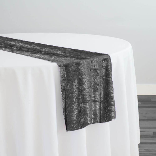 Panne (Crush) Velvet Table Runner in Charcoal
