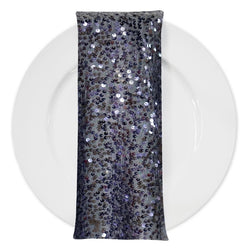 Taffeta Sequins (w/ Poly Lining) Table Napkin in Charcoal