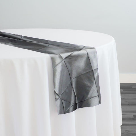 "4"" Pintuck Taffeta Table Runner in Charcoal"